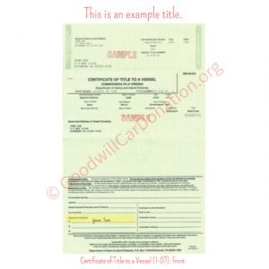 VA Certificate of Title to a Vessel (1-07)- Front