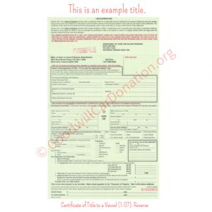 VA Certificate of Title to a Vessel (1-07)- Reverse