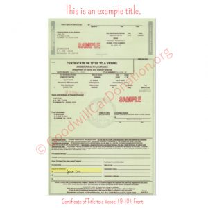 VA Certificate of Title to a Vessel (9-10)- Front