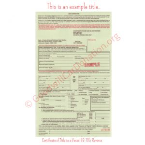 VA Certificate of Title to a Vessel (9-10)- Reverse