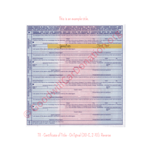 TX - Certificate of Title - Original (30-C, 2-10)- Reverse | Goodwill Car Donations