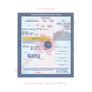 TX - Certificate of Title - Original (30-C, 4-90)- Front | Goodwill Car Donations
