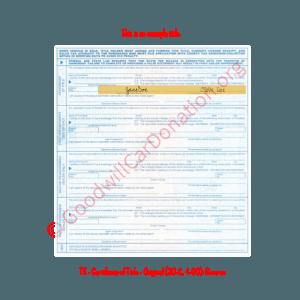 TX - Certificate of Title - Original (30-C, 4-90)- Reverse | Goodwill Car Donations