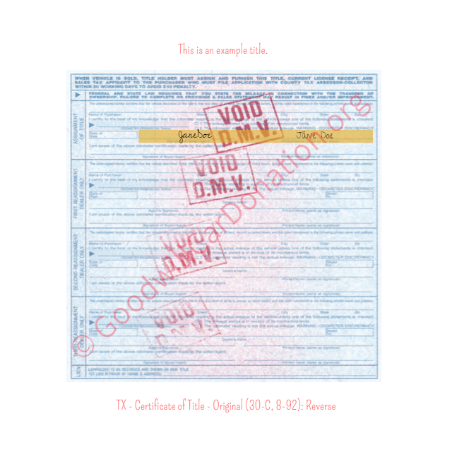 Texas Vehicle Title Transfer