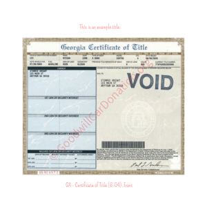 GA - Certificate of Title (6-04)- Front | Goodwill Car Donations