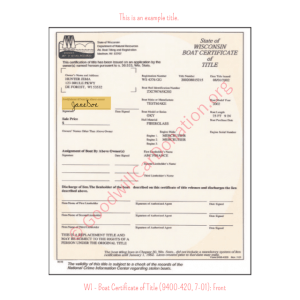 WI - Boat Certificate of Title (9400-420, 7-01)-Front | Goodwill Car Donations