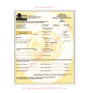 WI - Boat Certificate of Title (9400-420, 8-12)-front | Goodwill Car Donations