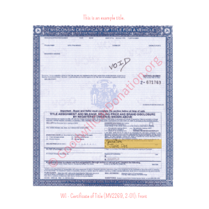 WI - Certificate of Title (MV2269, 2-01)-Front | Goodwill Car Donations