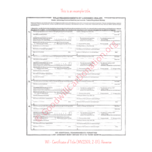 WI - Certificate of Title (MV2269, 2-01)-Reverse | Goodwill Car Donations