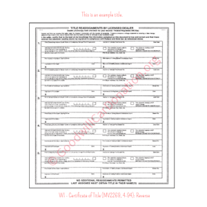 WI - Certificate of Title (MV2269, 4-94)-Reverse | Goodwill Car Donations