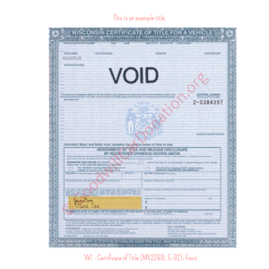 WI - Certificate of Title (MV2269, 5-92)-Front | Goodwill Car Donations