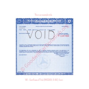 WI - Certificate of Title (MV2269, 9-86)-Front | Goodwill Car Donations