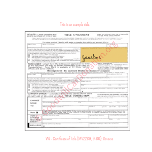 WI - Certificate of Title (MV2269, 9-86)-Reverse | Goodwill Car Donations