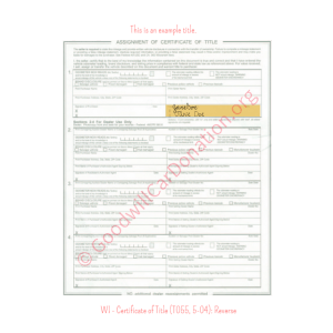 WI - Certificate of Title (T055, 5-04)-Reverse | Goodwill Car Donations