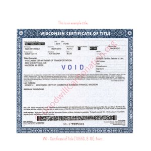 WI - Certificate of Title (T055S, 8-10)- Front | Goodwill Car Donations