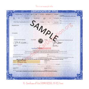FL- Certificate of Title (HSMV 82250, 10-12)- Front | Goodwill Car Donations
