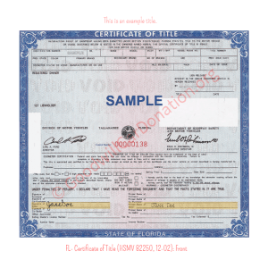 FL- Certificate of Title (HSMV 82250, 12-02) - Front | Goodwill Car Donations