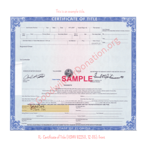 FL- Certificate of Title (HSMV 82250, 12-05) - Front | Goodwill Car Donations