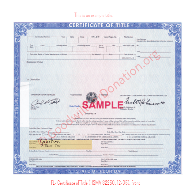 how to get a certificate of title in florida