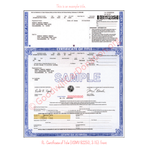 FL- Certificate of Title (HSMV 82250, 3-15)-Front | Goodwill Car Donations