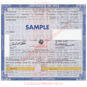 FL- Certificate of Title (HSMV 82250, 4-00)- Front | Goodwill Car Donations