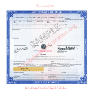 FL- Certificate of Title (HSMV 82250, 4-08)- Front | Goodwill Car Donations