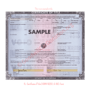 FL- Certificate of Title (HSMV 82251, 6-96) - Front | Goodwill Car Donations