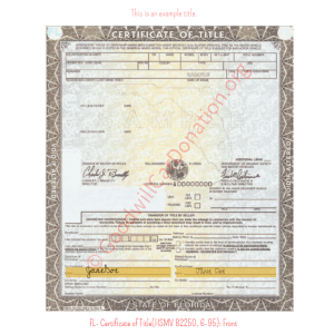 FL- Certificate of Title(HSMV 82250, 6-95)- Front | Goodwill Car Donations