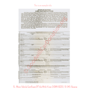 FL- Motor Vehicle Certificate Of Title With A Lien (HSMV 82250, 10-94) - Reverse | Goodwill Car Donations