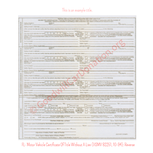 FL- Motor Vehicle Certificate Of Title Without A Lien (HSMV 82251, 10-94) - Reverse | Goodwill Car Donations