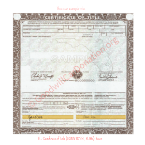 FL- Certificate of Title (HSMV 82251, 6-95) - front | Goodwill Car Donations