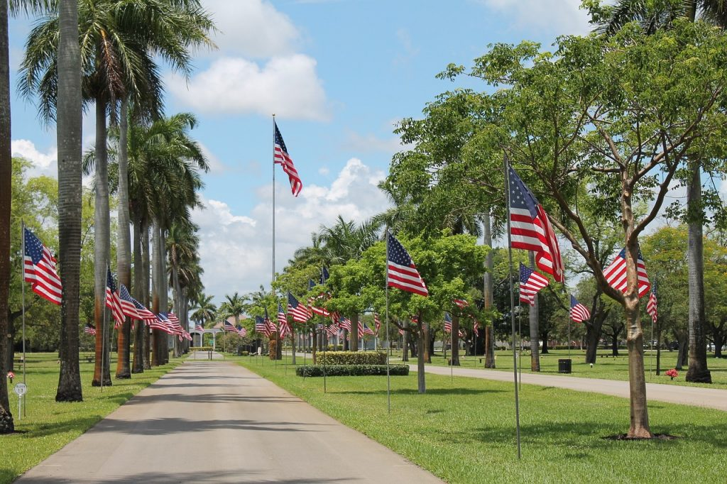 Celebrating Memorial Day with American Flags at a Park | Goodwill Car Donations