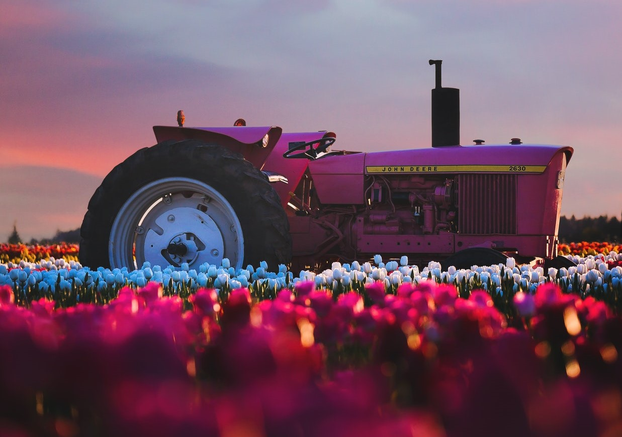 Tractor and Flowers in Spring | Goodwill Car Donations